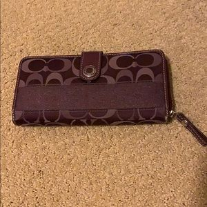 Purple Coach cloth wallet with patent rim/front